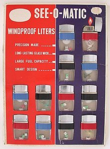 12 See-O-Matic Lighters on Store Display Card