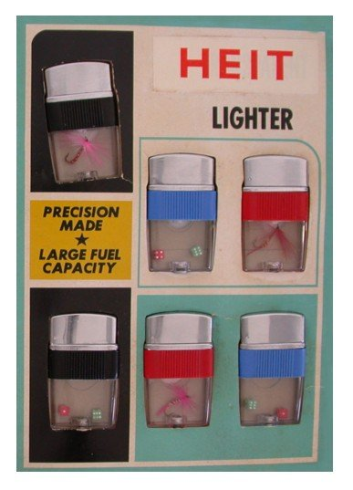 6 old vintage Clear-View Lighters on Display