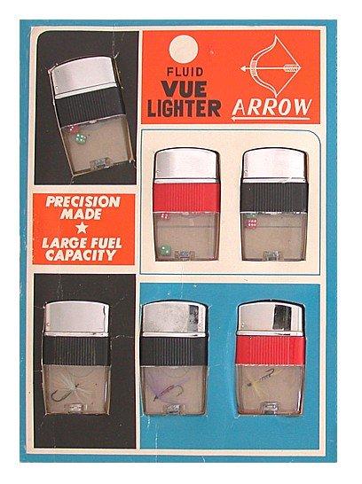 old vintage ARROW VUE LIGHTERS on store display