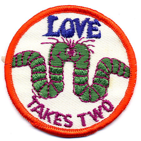 old vintage WORM LOVE PATCH 1960s ~ hippy