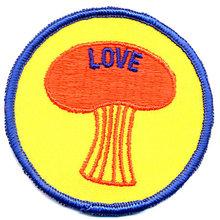 old vintage 1960s 'SHROOM LOVE patch ~ mushroom
