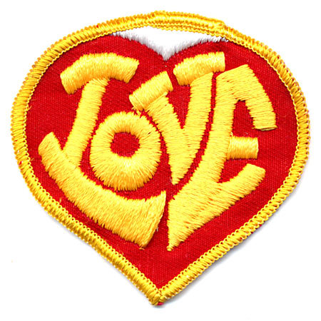 old vintage LOVE heart PATCH ~ nos hippie