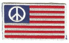 old vintage USA PEACE FLAG patch ~ 1960s hippy