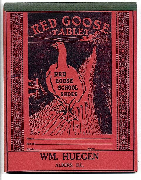 old vintage RED GOOSE SHOES writing tablet