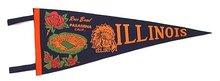 old ILLINOIS ROSE BOWL felt FOOTBALL pennant