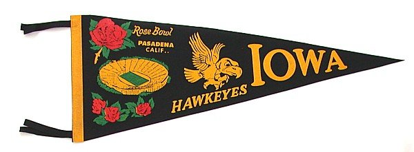 old vintage IOWA ROSE BOWL FELT PENNANT