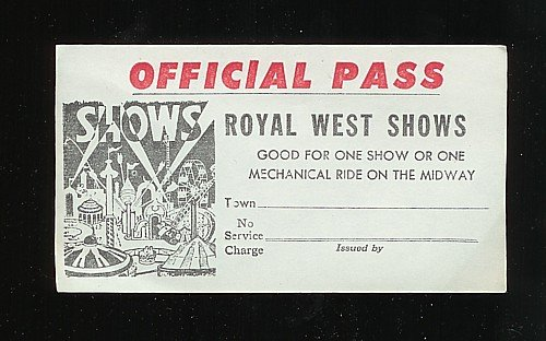 old vintage 1950s MIDWAY CARNIVAL PASS ~ ROYAL