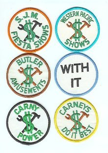 6 old vintage CARNIVAL CARNY PATCHES