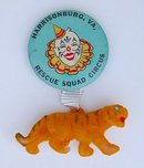 old vintage CIRCUS pin w FLOCKED TIGER
