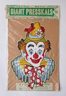 old vintage GIANT PRESSKAL CLOWN decal sign