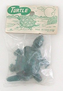 old vintage PLASTIC GREEN BABY TURTLE toy
