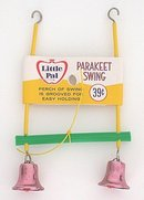 old vintage BIRD TOY SWING w BELL 1950s ~ cage