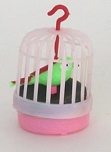 old vintage BIRD IN CAGE hanging toy ornament