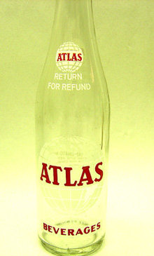 old vintage 1960's ATLAS ACL Painted Soda Bottle