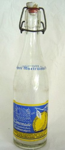OLD Vintage German ACL Painted Limonade Bottle