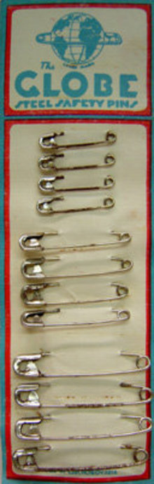 old vintage 1930 GLOBE SAFETY Pins on card