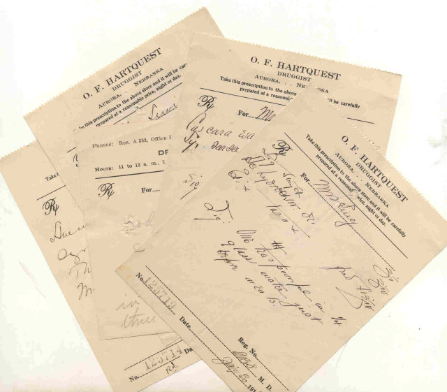 5 old 1919 AURORA NE pharmacy prescriptions