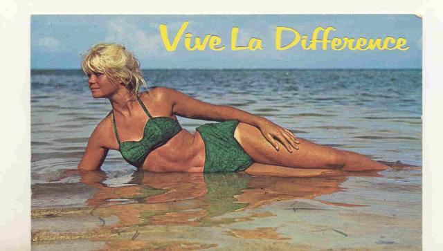 old vintage unused SEXY BIKINI lady postcard