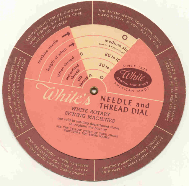 old vintage WHITE'S NEEDLE THREAD AD dial