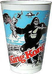 old vintage 1976 KING KONG MOVIE PLASTIC CUP