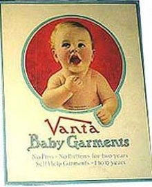 old vintage 1925 VANTA BABY GARMENT sign