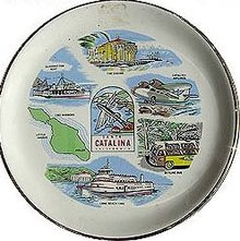 old 1950s SANTA CATALINA ISLAND SOUVENIR PLATE