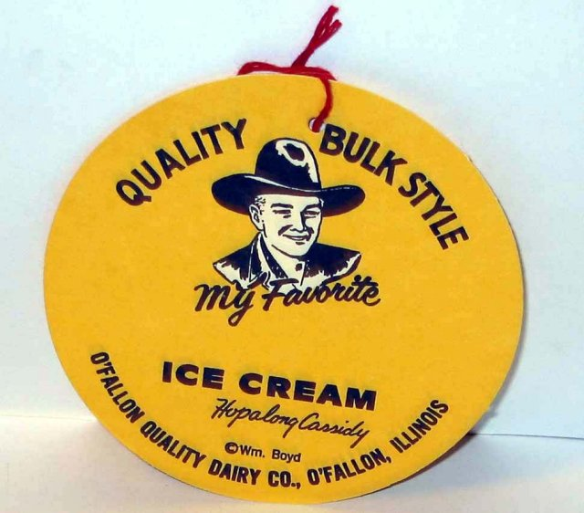 old vintage HOPALONG CASSIDY ICE CREAM sign