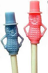 2 vintage MR. PEANUT PLASTIC DRINK STRAWS