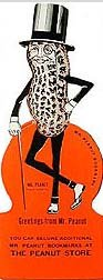 old vintage MR. PEANUT figural bookmark 1940s