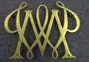 old vintage BRASS WILLIAM & MARY CYPHER trivet