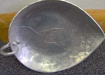 old vintage WORLD HAND FORGED ALUMINUM TRAY ~