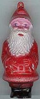 old vintage hard plastic PAINTED SANTA ORNAMENT