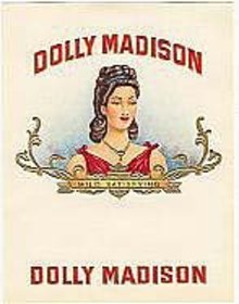 old vintage DOLLY MADISON INNER CIGAR BOX label