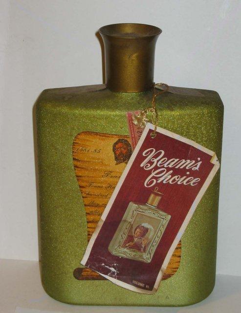 Jim Beam Olive Art Glass Decanter Bottle