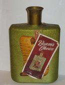 Jim Beam Olive Art Glass Decanter Bottle