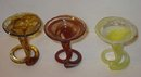 3 vintage mini GLASS SWIRL bud vases