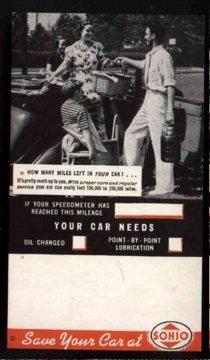 VINTAGE SOHIO GAS CAR Reminder Card ~ 1950s