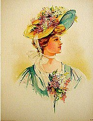 Victorian Easter Yellow Hat Print