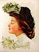 old vintage 1906 VICTORIAN LITHO ~ EASTER LILY
