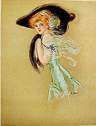 old 1909 Victorian Lady Litho Print  black hat