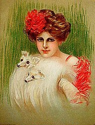 old Victorian Ladies Litho Print ~ fox  FUR