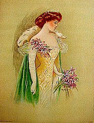 old Victorian Ladies Litho Print ~ orchid stole