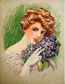 oldVictorian Ladies Litho Print ~ VIOLET BOUQET