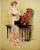 old vintage 1909 victorian litho print ~ piano