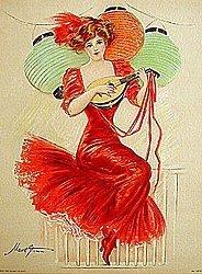 Victorian Litho Print - Chinese lantern