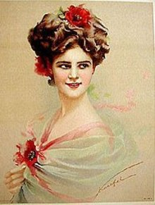 old vintage 1910 VICTORIAN PRINT FLOWER HAIR