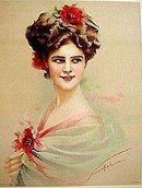 old vintage 1910 VICTORIAN PRINT FLOWER HAIR