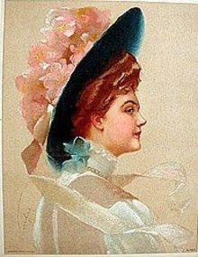 old vintage 1910 VICTORIAN PRINT FLOWER HAT