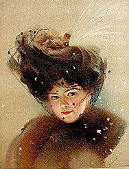 old vintage 1909 VICTORIAN LITHO ~ snowy veil