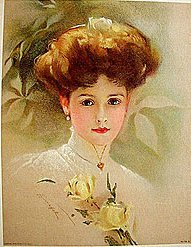 old vintage 1909 VICTORIAN LITHO ~ YELLOW ROSE